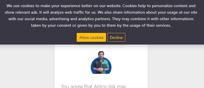 Cookie consent notification