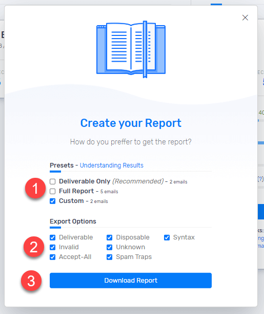 Select email types you want to export and download the emails CSV file.