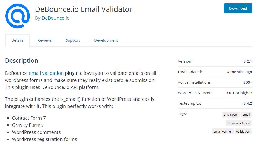 Debounce email verifier wordpress plugin