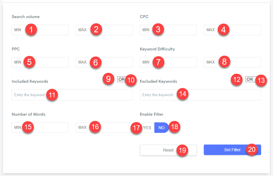 All the filters within GetKeywords.io
