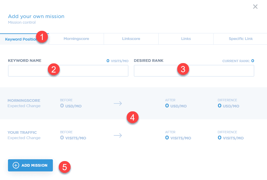 How to setup a keyword position mission