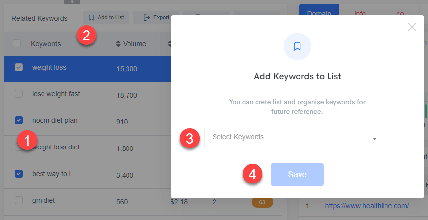 How to create new list or add keywords to a list