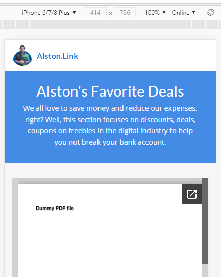 Mobile view for curated web pages