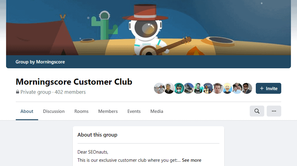 Private Facebook group for Morningscore customers