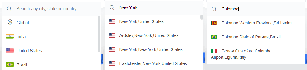 You can search keywords by global, country, state & city