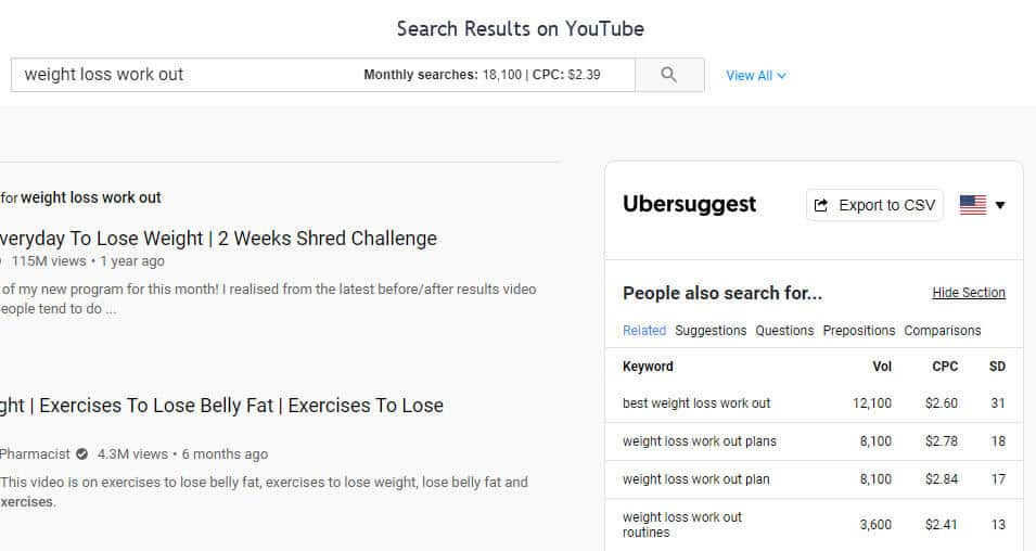 search results from youtube