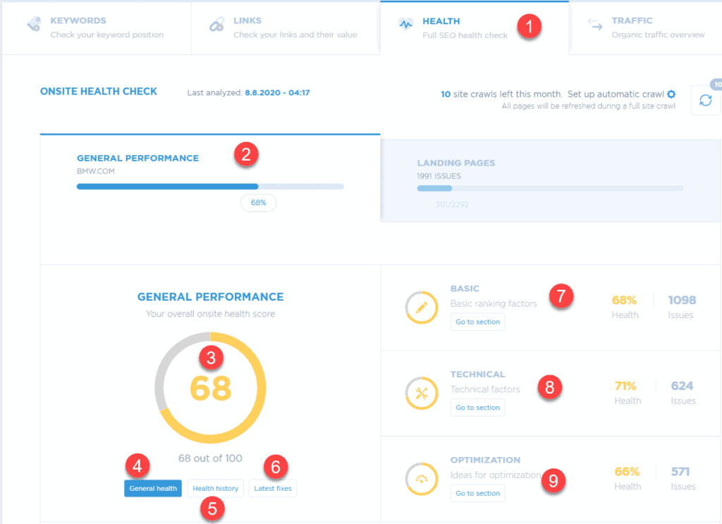 Main screen of website health tool (SEO audit) for on-page SEO optimization