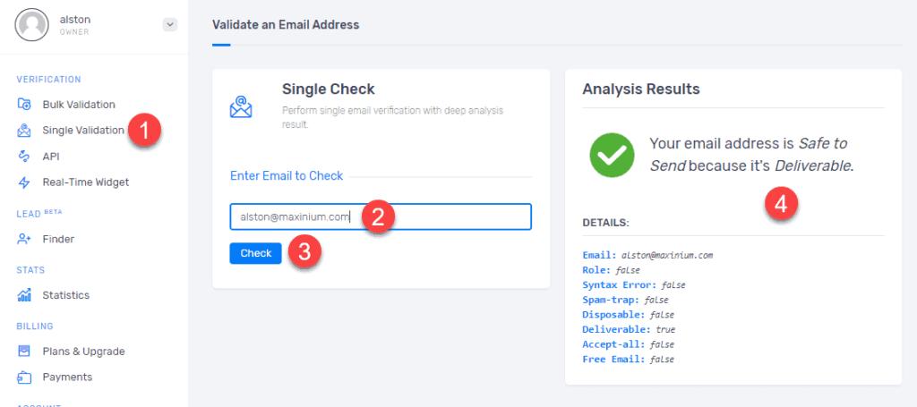 Verify & validate email address
