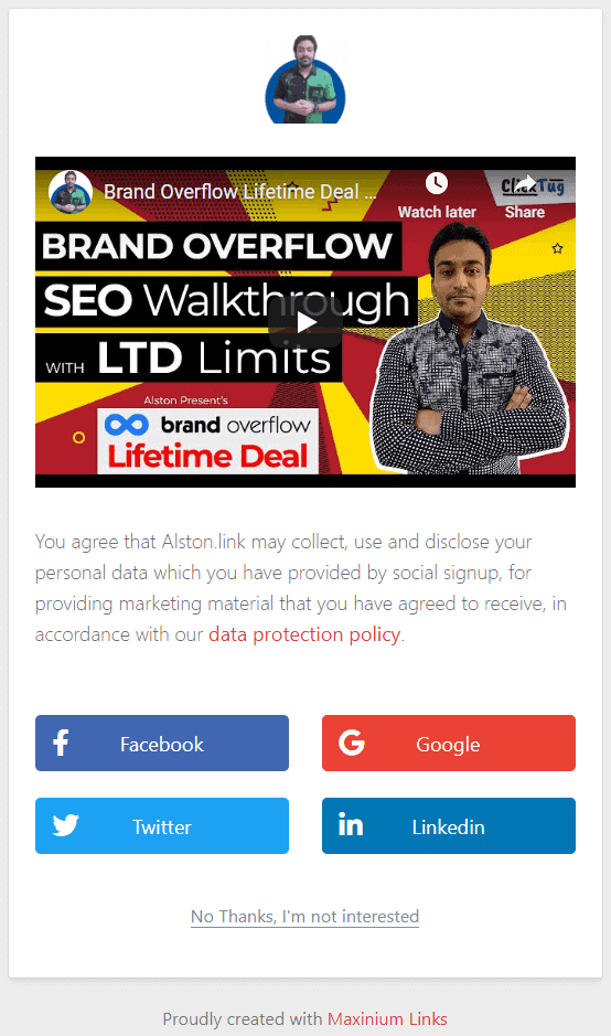 Social signup to collect leads from social media