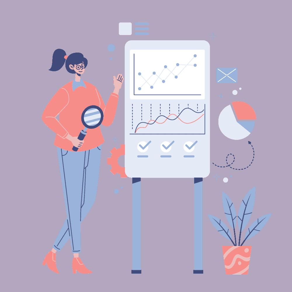 A girl show data regarding structured data.