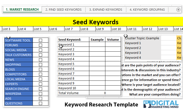 Excel keyword research template