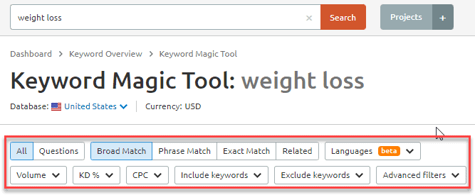 Keyword research filters