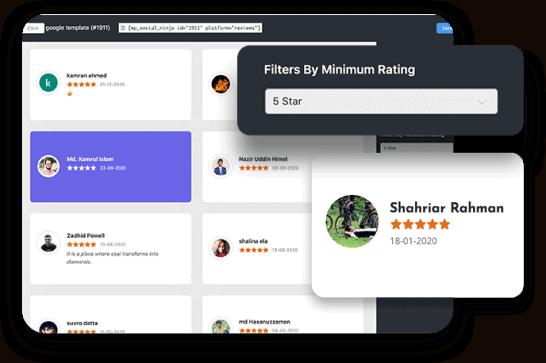Social reviews ratings