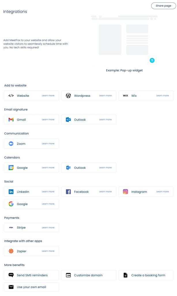 MeetFox Integrations