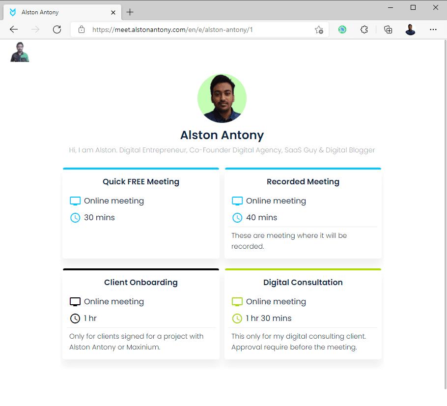 Meetfox booking page